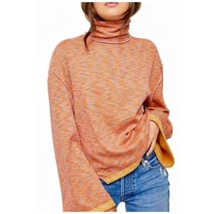 Free People Sunny Days Stretch Cotton Turtleneck Sweater Size Small New